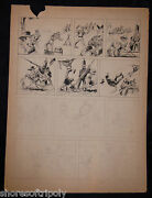 Original 1940and039s Ink And Pencil Cowboy Indian Soldier Comic Illustration Board