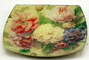 Decorative Rose Flower Printed Design Gold Colored Foil Backed Clear Glass Plate
