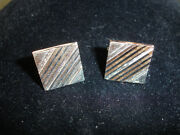 Old Vintage Collectible Swank Silver Tone Square Shaped Men's Cuff Links