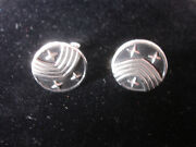 Collectible Swank Silver Tone Round Shaped 3 Stars Design Men's Cuff Links