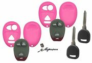 New Pink Gm Pontiac Buick Remote Key Fob Case Shell W/ Buttons + Spare Key Pair