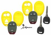 New Yellow Gm Pontiac Buick Remote Key Fob Case Shell W/ Buttons + Spare Key X2