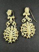 Wonderful Antique Victorian Mother Of Pearl And Seed Pearl Drop Earrings C1850