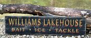 Personalized Bait Ice And Tackle Lake House- Rustic Hand Made Vintage Wood Sign