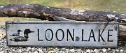 Personalized Lake With Loons - Rustic Hand Made Vintage Wood Sign