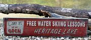 Custom Lake - Weand039re Open - Free Ski Lessons - Rustic Hand Made Vintage Wood Sign