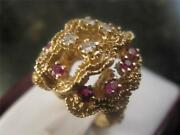 Vintage 14k Solid Yellow Gold Coral Motif Diamond And Ruby Ring Size 6.75