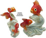 Goldfish On Wave Jeweled Trinket Box With Crystals, By Rucinni