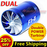 For Ford Air Intake Dual Fan Turbo Supercharger Turbonator Gas Fuel Saver Blue