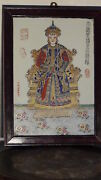 Antique 19c Chinese Hand Painted Porcelain Seated Emperor Plaquesigned And Sealed