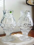 2 Waterford Society Crystal Penrose Hurricane Lamps Signed Roy Cunningham Nice
