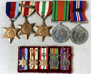 Wwii British Medal Group Full Size 5 Medal Bar And Matching Miniatureand039s W Oak Leaf
