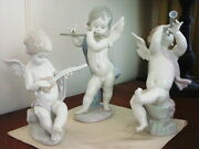 Lladro Angel Band 3 Figurines Lute Flute Clarinet - W/ Boxes Music Rare - Nice
