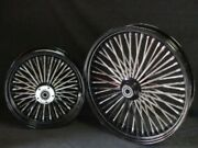 21x3.5 And 18x4.25 Dna Mammoth 52 Spoke Fat Daddy Black Wheels 4 Harley And Touring