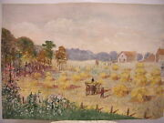 Signed C E Brush 1917 Watercolor Painting Country Landscape Black Farmer Picture