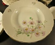 Fine Bohemian China Made In Czechoslovakia 8-3/4 Rimmed Soup Bowl Flowers