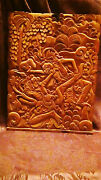 Antique 18c Asian Wood Hand Carved Wall Plaquetwo Fighting Warrior