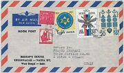 Eagles Birds Military Anchors - India - Postal History  Cover To Italy