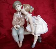 Lladro 7635 Ten And Growing Figurine Girl Kissing Boy 1994 Retired In A Box
