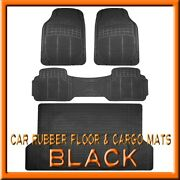 Fits 3pc Toyota Highlander Black Rubber Floor Mats And 1pc Cargo Trunk Liner Mat