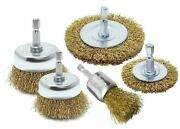 5pc Wire Brush Drill Attachments Wheel Cups Deburr Rust Removal Brass-coated