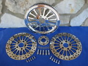 For Harley Softail Choppers Super Spoke 70 T 1 1/2 Pulley Brake Rotors Kit