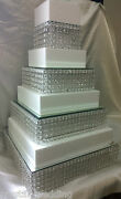 Crystal Diamante Wedding Cake Stands Stacked Tiers In Round Or Square