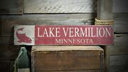 Custom Lake Vermilion Fish Sign - Rustic Hand Made Vintage Wooden