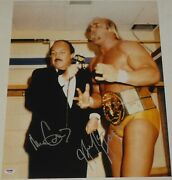 Hulk Hogan And Mean Gene Okerlund Signed Wwe 16x20 Photo Psa/dna Picture Autograph