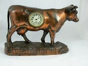 Cast Iron Bronzed Cow Clock For St. Charles Evaporated Cream C 1920and039s