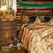 Fur Accents Brown Fox Fur Bedspread Faux Wolf Coyote Bear King Size