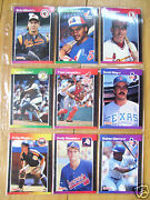 Baseball Cards Of 9 Different Players In Plastic Sleeve