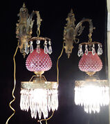 Pair Vintage Fenton Cranberry Art Glass Lamps Tulip Lily Bronze Brass Sconce Old