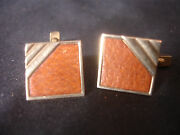 Old Vtg Collectible Swank Gold Tone Brown Square Men's Cuff Links