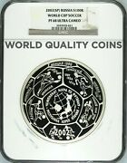 Russia 2002 1 Kg Silver 100 Roubles World Cup Soccer Ngc Pf68 Football Rare Box