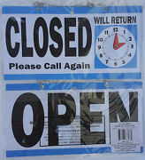Business Sign Open Closed With Return Clock Flip Store Signs 11.5 X 6
