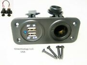 Red Dual 3.1a Usb Charger And Socket Panel Mount Marine 12v Jack Power Outlet