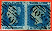 Sg. 14. E1 2. Es14 N Bg Bh . 2d Blue. Plate 4. Without Spectacles Variety.