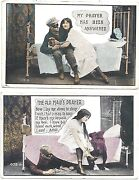 2 Postcards Old Maids Prayer Girl In Nightgown And Their Under Her Bed C1910