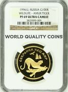 Russia 1996 Proof Gold Coin 100 Roubles Amur Tiger Wildlife Ngc Pf69 Very Rare