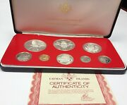 Cayman Islands 1976 Set 8 Proof Coins 4 Silver Minted In Canada Box Coa