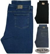 Big And Tall Men's Denim Jeans Stretch Fabric Relaxed Fit Waist 42 - 68 Full Blue