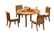 5-piece Outdoor Teak Patio Dining Set 52 Round Table 4 Armless Chairs Giva