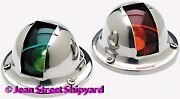 Pair Marine Stainless Vertical Mount Red Green Side Navigation Bow Lights 1 Mile
