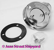 Marine Boat 1-1/2 In Fuel Gas Cap Deck Fill Plate With Screw Cap Chrome 32041