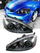 Pair Black Projector Headlights W/ Smd Led Halo Rims For 2005-2006 Acura Rsx