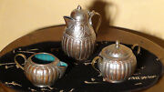 Antique 19c Chinese Copper Creamer ,suger And Small Pot With Turquouise Enamel