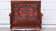 Antique 19c Chinese Rosewood Hand Carved Table Screen Plaquevases,birds,flowers