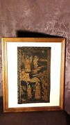 Antique18c-19c Chinese Silk Embroidery Depicting 4 Immortals On Landscape,framed