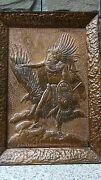 Rare Antique Chassed High Relief Copper Plaque American Indian Warrier And Eagle